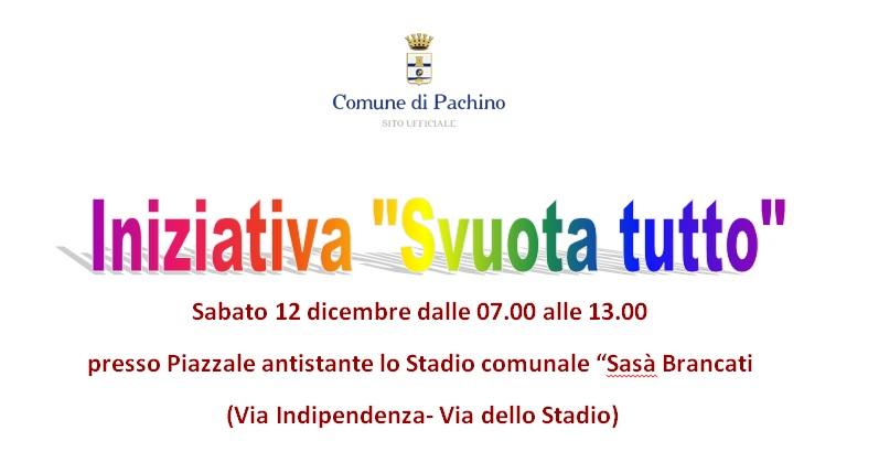 """PACHINO: INVITO DELLA COMMISSIONE AD ADERIRE  ALLA CAMPAGNA NATALIZIA """"SVUOTA TUTTO"""""""